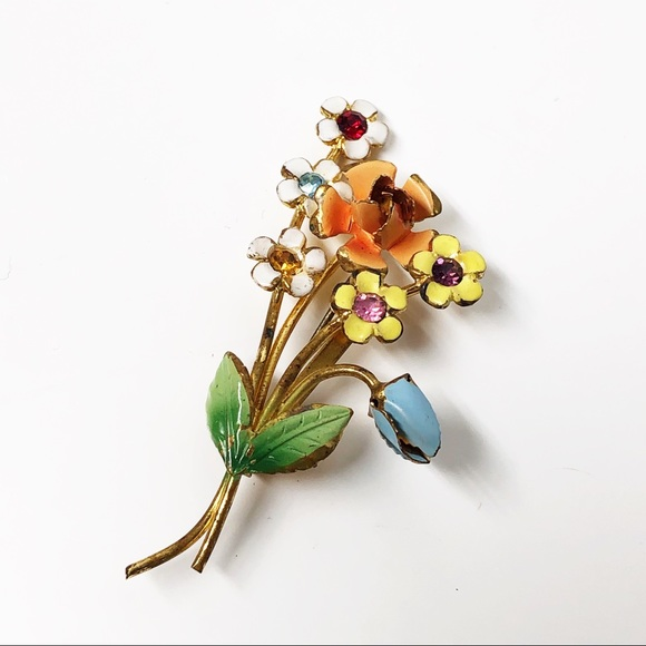 Antique Vintage Flower Bouquet Brooch